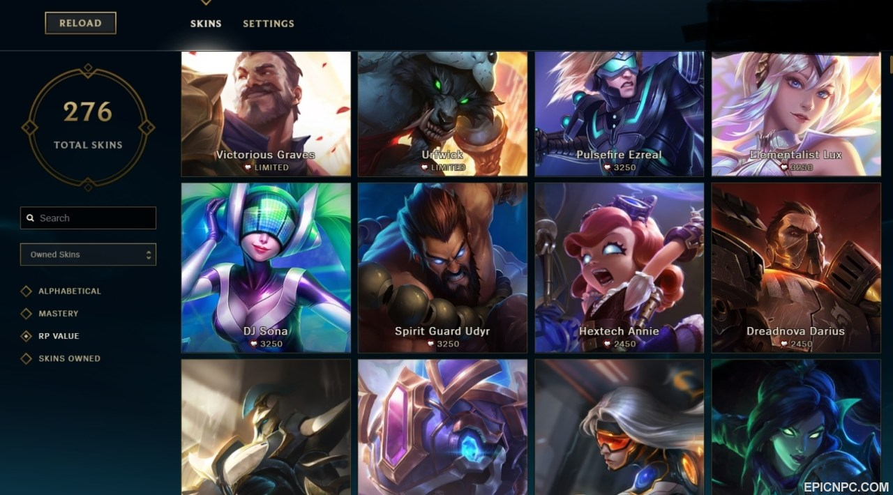 Selling Euw Level 70 Platinum 5 All Champs 276 Skins All