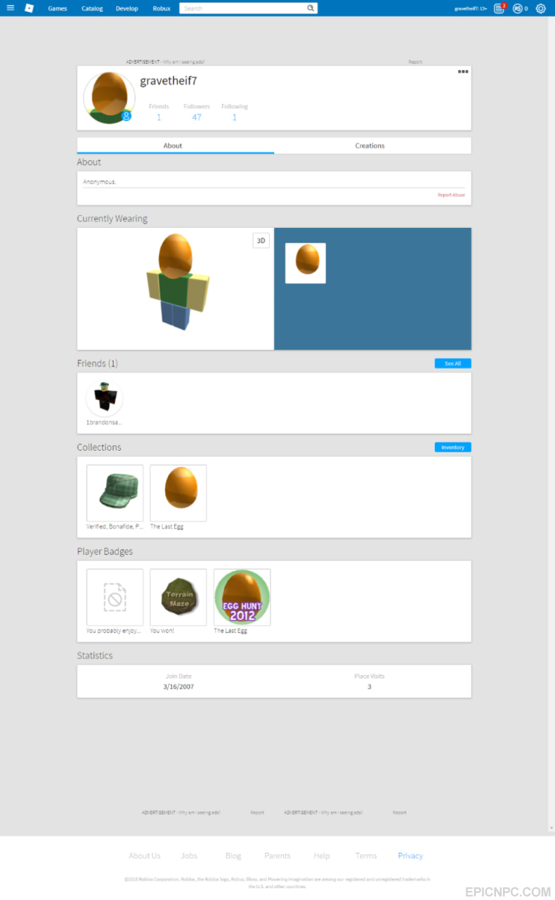 Bought Selling 2007 Roblox Account 5 Epicnpc Marketplace